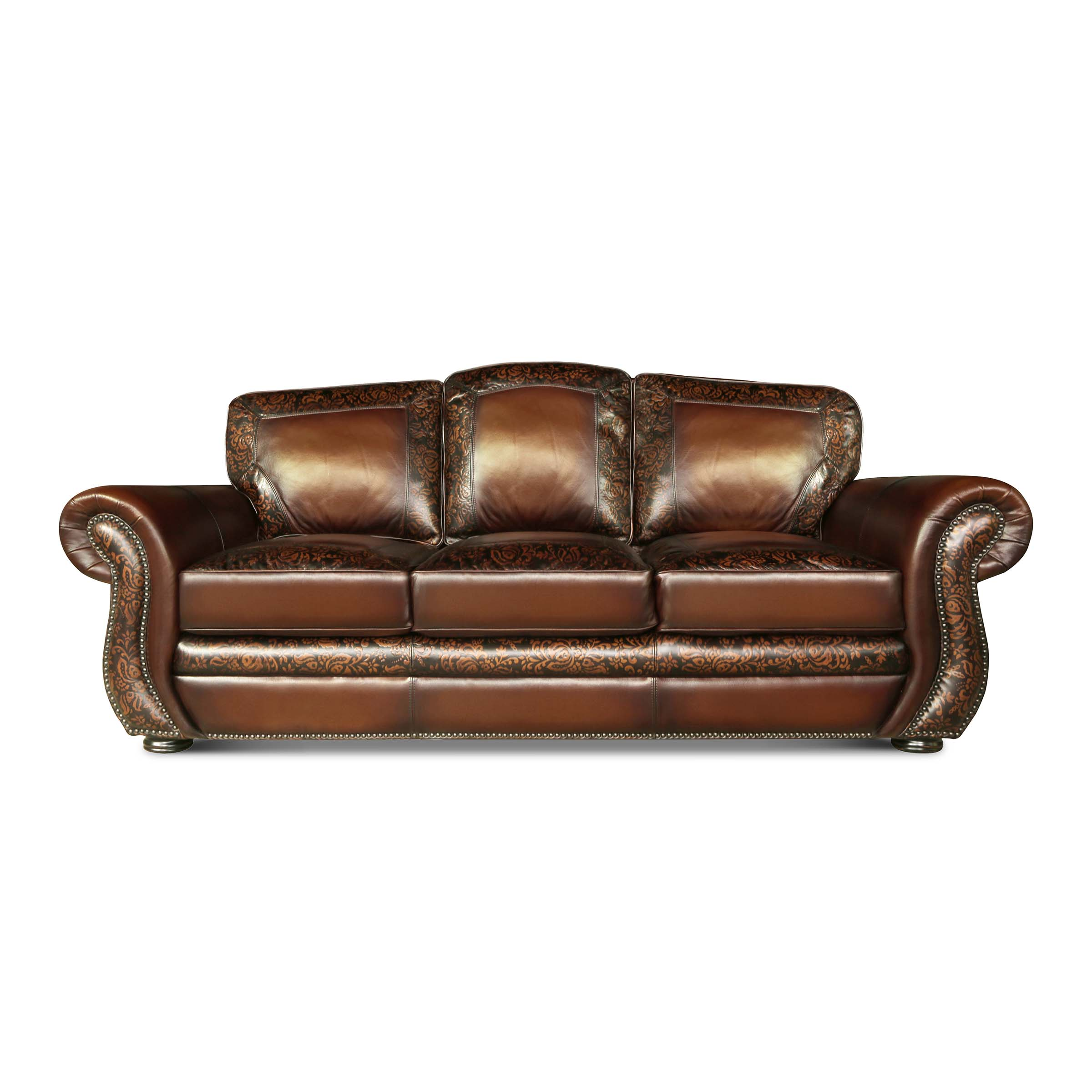 BALLENTINE - 30 Sofa Maestro Artisano Saddle Damask Hand Tooled Leather