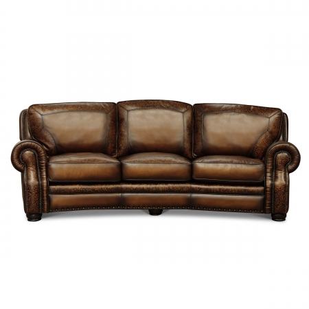 BALMORAL - 3C Conversation Sofa Maestro Artisano Polo Damask Hand Tooled Leather