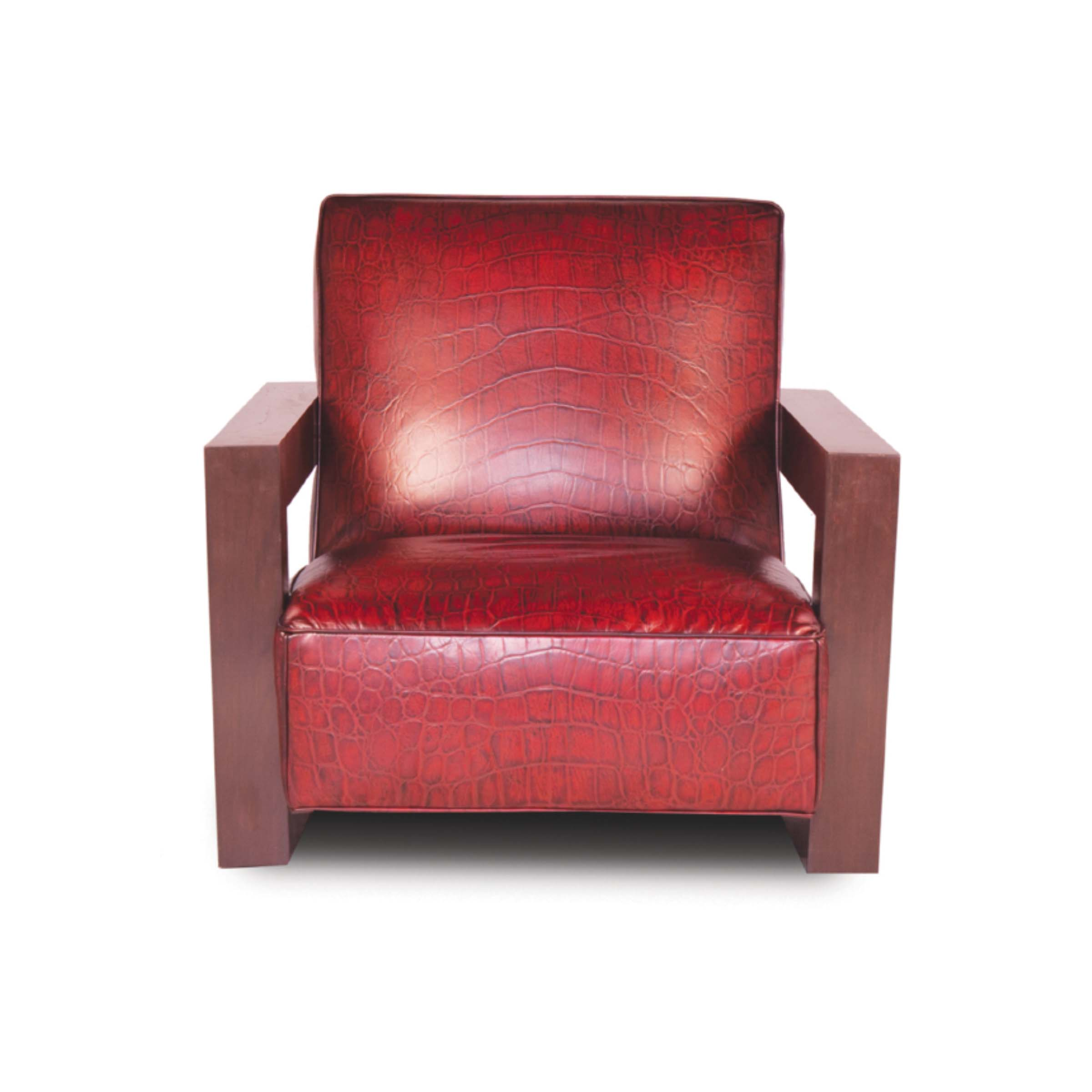 LOFTY - 1E Accent Chair Maestro Artisano Lava Terrapin Hand Tooled Leather